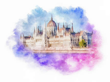 The Hungarian Parliament Building watercolor illustration, Budapest, Hungary