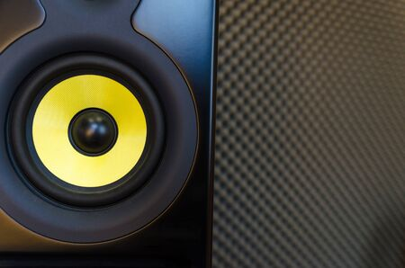 high end: High - end music studio speakerloudpeaker. Horizontal composition