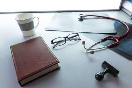 doctors tools: Doctors desk desk medical concept with a copy space Stock Photo