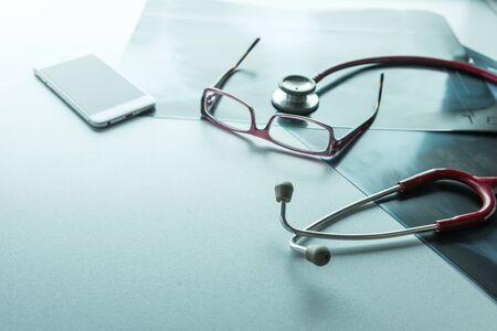 Doctors desk desk, medical concept with a copy space photo