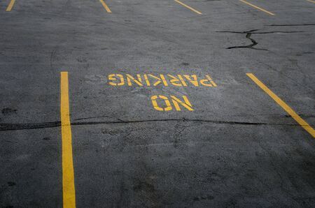 parking violation: No parking sign on the parking lot. Stock Photo