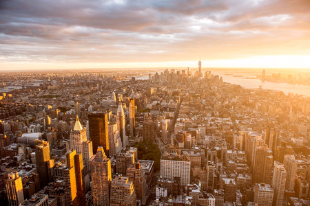 new york city panorama: Beautiful sunset over Mahattan at golden sunset. High angle shot