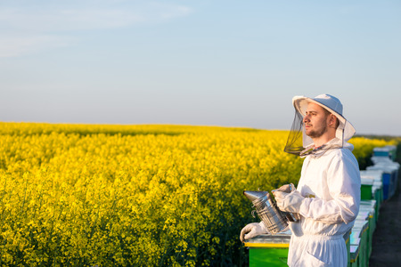 apiarist: Young proud apiarist holding a smoker on a rapeseed field and looking into the sun. Selective focus, narrow depth of field, copy space