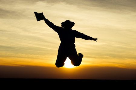 apiarist: Apiarist silhouette jumping in the field and holding smoker at sunset. Warm tones, sunlight Stock Photo