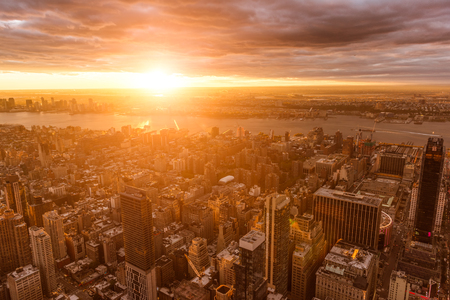 Golden sunset from the Empire State Building. Lens flare