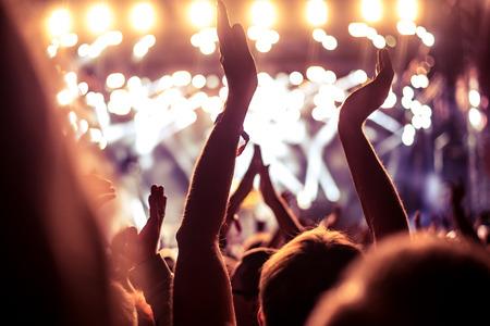 alzando la mano: Una multitud de personas celebran y de fiesta con sus manos en el aire a una impresionante Dj. Alta imagen granulada ISO.