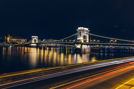 selective focus: Night view of a Chain Bridge in Budapest. Selective focus. Night shoot. Stock Photo