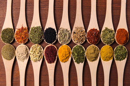 seasonings: Cropped shot of spoons filled with a variety of spices.