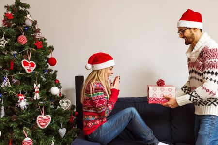 Cropped shot of a man surprising his girlfriend with a Christmas gift. Standard-Bild