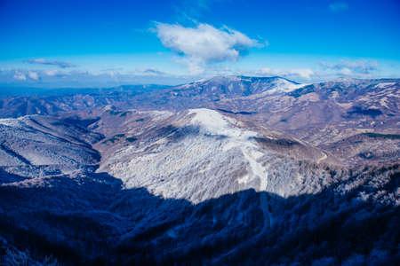 mountain peek: Winter landscape of a mountain peek. Stock Photo