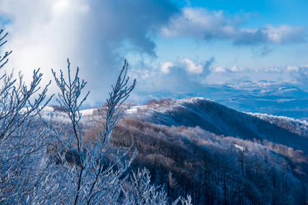 mountain peek: Winter landscape of a mountain peek. Stock Photo