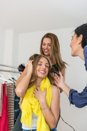 tonight: Girls getting ready for going out tonight.