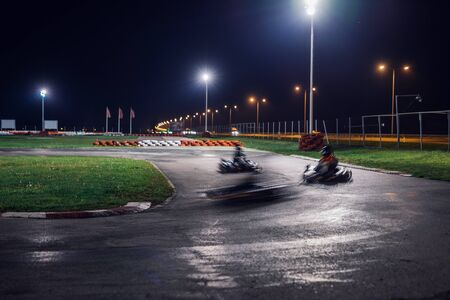 Blurred motion of a karting competiton race. Stock Photo