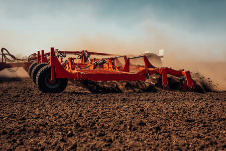 Sowing and plowing action in the spring season. Stok Fotoğraf