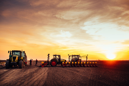 Agricultural mechanization preparing land for seeding on a sunset. Archivio Fotografico