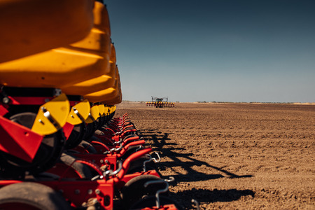 Sowing and plowing action in the spring season. Stock Photo