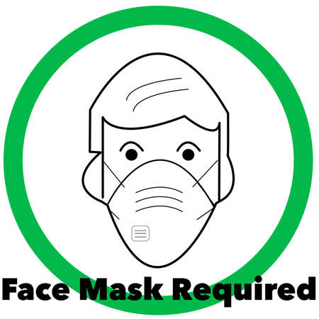 Face Mask required pictogram. Some states now require face masks. Stock fotó - 151815175