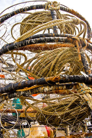 crab pot: Crab pot stacking together neatly making interesting picture