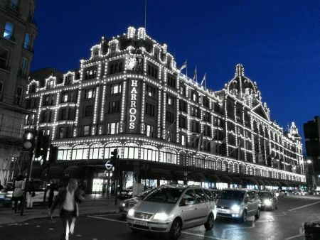 harrods: Harrods at London jus before  the sky turns dark
