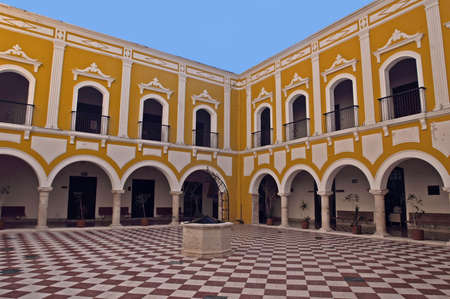 goverment: View of a courtyard of a colonial goverment building in Campeche, Mexico.