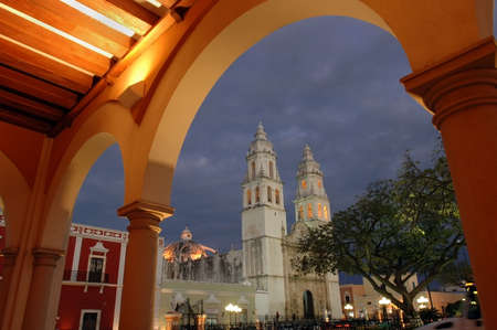 View of the cathedral in Campeche, Mexico at nightfall.