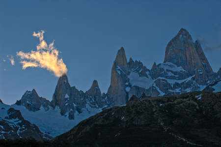 fitz roy: Mount Fitz Roy in southern Argentina.