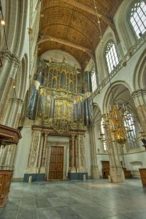 Interior of 15th century Nieuwe Kerk (New Church) in Amsterdam
