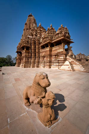 Temple with lion statue at Khajuraho, India. Stock Photo - 6080758