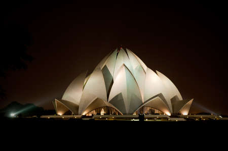 the house of worship: The famous Lotus Temple (Bahai House of Worship) in New Delhi, India.