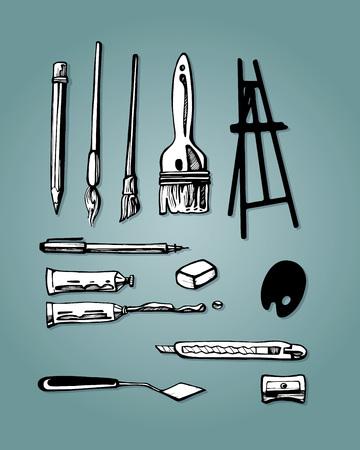 手描きのベクトル図またはいくつかのアート アイテムやツールの図面