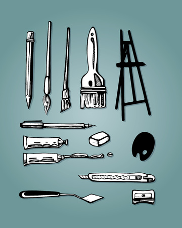 hand drawn vector illustration or drawing of some art items or tools Illusztráció