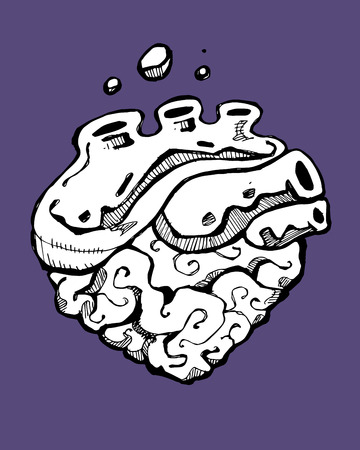 hand drawn vector illustration or drawing of a heart forming also a brain