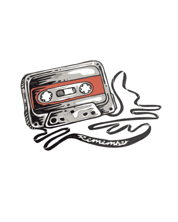 hand drawn vector illustration or drawing of a retro old school style cassette with the word Remember Иллюстрация