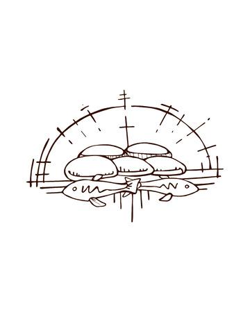milagre: Desenho vetorial ou desenho do milagre de Jesus da multiplicação dos cinco pães e dois peixes