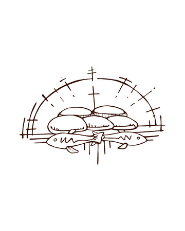 miracle: Hand drawn vector illustration or drawing of the Jesus miracle of the multiplication of five breads and two fish
