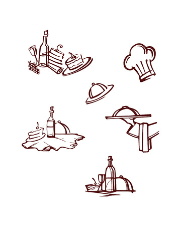 Hand drawn vector illustration or drawing of some chef items