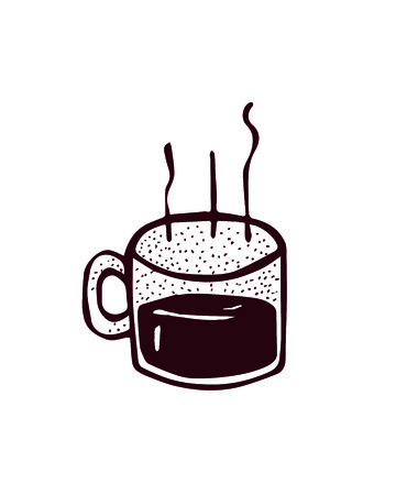 Hand drawn vector illustration or drawing of a steaming cup of coffee