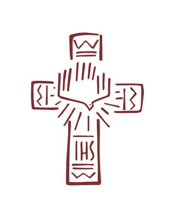 Hand drawn vector illustration or drawing of a religious Cross with symbols