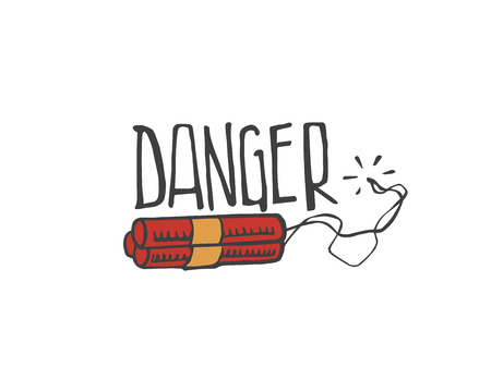 Hand drawn vector illustration or drawing of a dynamite and the word: Danger Illusztráció