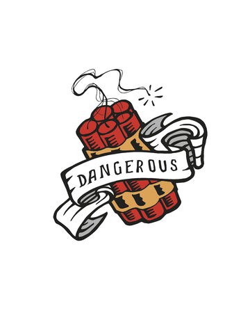 Hand drawn vector illustration or drawing of a dynamite with a ribbon that says: Dangerous Illusztráció