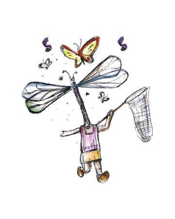 Hand drawn vector illustration or drawing of running girl with a dragonfly instead of head and catching butterflies with a net