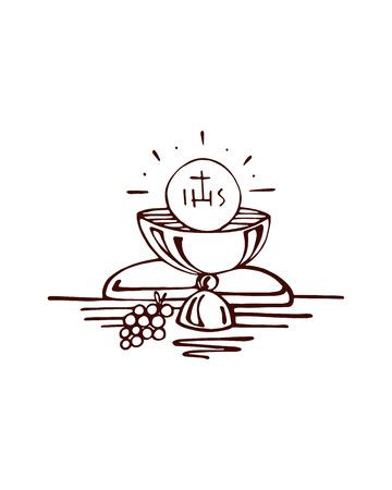 eucharistie: Hand drawn vector illustration ou un dessin d'un symbole religieux eucharistie Illustration