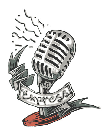 Hand drawn vector illustration or drawing of a retro microphone with a ribbon that says: Express