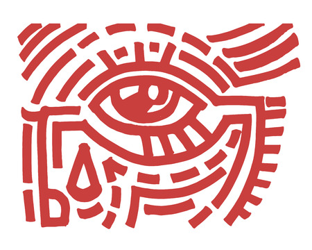Hand drawn vector illustration or drawing of a tribal eye