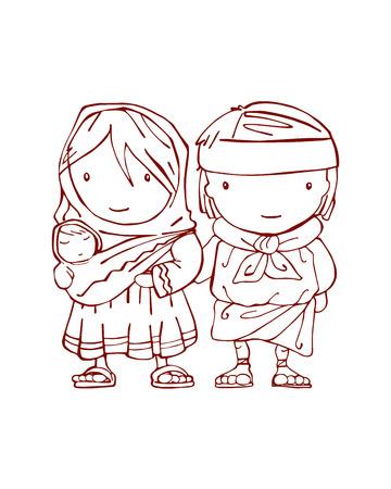 traje mexicano: Dibujado a mano ilustración vectorial o dibujo de una una familia indígena