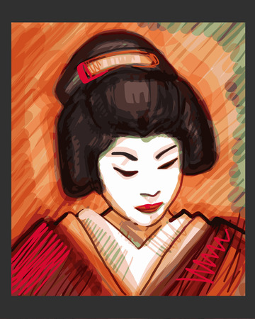 Hand drawn vector illustration or drawing of a japanese traditional geisha