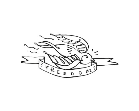 Hand drawn vector illustration or drawing of a swallow with a ribbon that says: freedom