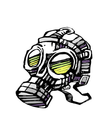 Hand drawn vector illustration or drawing of a gas mask Illustration