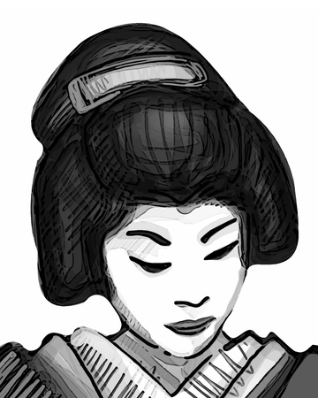 Hand drawn vector illustration or drawing of a traditional japanese geisha Çizim