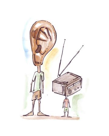 Hand getrokken vector illustratie of een tekening van een man en een jongen met een oor en een radio in plaats van hoofden Stock Illustratie